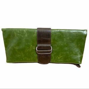 SHIRLEAH Green Fold Over Brown Buckle Vegan Clutch